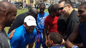 Mayor Nutter and Managing Director Negrin giving football tips at the Gridiron Classic.